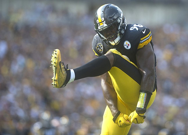 Steelers Vince Williams celebrates after sacking Vikings quarterback Case Keenum during the opening day victory.