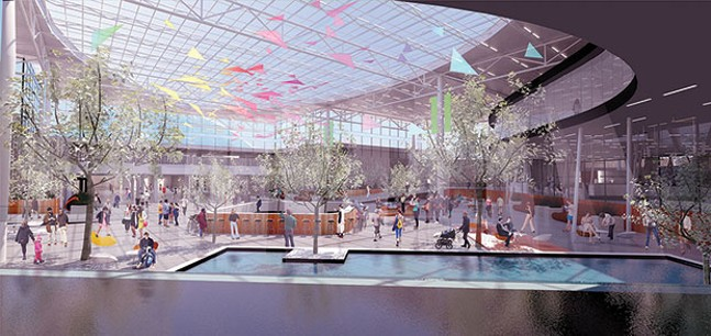 Atrium as seen from security-checkpoint area - IMAGE COURTESY OF ALLEGHENY COUNTY AIRPORT AUTHORITY