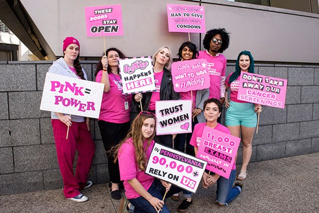 Planned Parenthood employees and interns stand up for women's health. - CP PHOTO BY JAKE MYSLIWCZYK