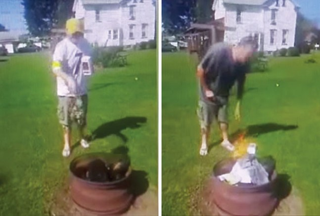 Screencaps from a YouTube video of a Steelers fan burning his clothes