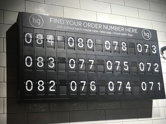 Honeygrow's old-school number board - CP PHOTO BY MEG FAIR