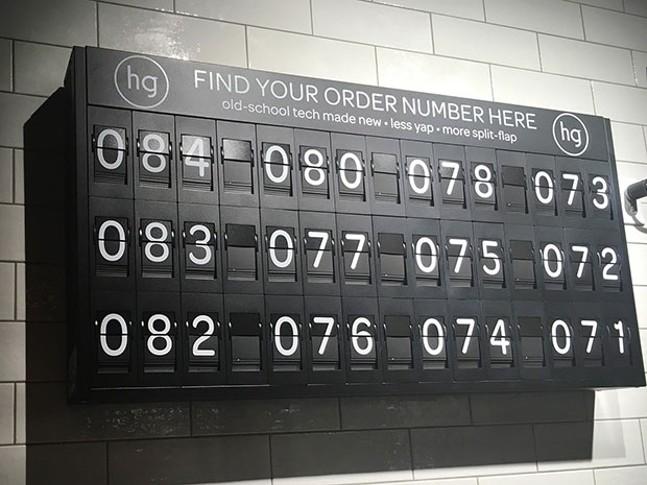 Honeygrow's old-school number board - CP PHOTO BY MEG FAIR