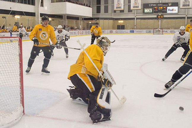Backup goalie Antti Niemi at the net during practice at UPMC Lemieux Sports Comple - CP PHOTO BY JAKE MYSLIWCZYK