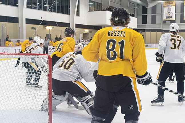 Pittsburgh Penguins practice at UPMC Lemieux Sports Complex. - CP PHOTO BY JAKE MYSLIWCZYK