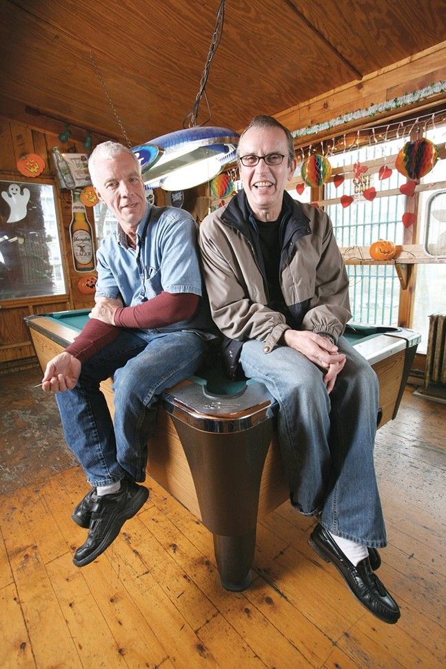 Chuck Tierney (left) and Chuck Honse in April 2007, a few weeks before they closed their LGBTQ bar, the Holiday. - CP FILE PHOTO