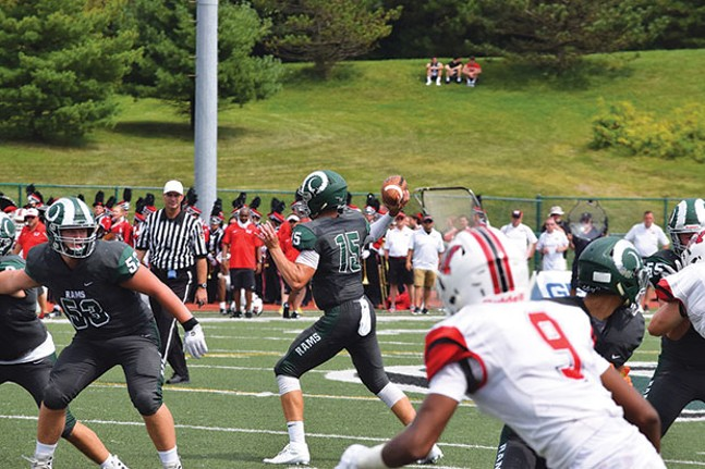 Phil Jurkovec (15) looks to pass during a recent Pine-Richland football game - PHOTO COURTESY OF TRENT SCHELLER