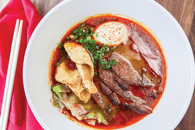 Inferno ramen, with beef shank, egg, crispy chicken skin, scallion and chili oil - CP PHOTO BY VANESSA SONG