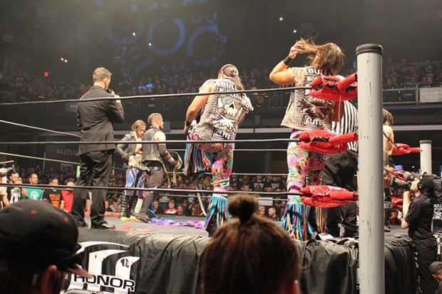 The Young Bucks prepare for their match against Motor City Machine Guns (left) and The Kingdom. - CP PHOTO BY MEG FAIR