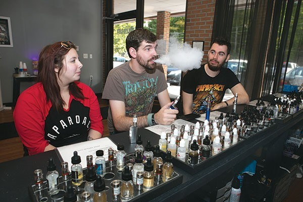 Sara Regale, Greg Combass and Cody Wise at Best Vape Shop Steel City Vapors - PHOTO BY JOHN COLOMBO