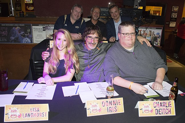 Face the Music celebrity judges. Clockwise from top left: Brian Drusky, Ed Traversari, Paul Martino, Charlie Deitch, Donnie Iris and Lisa Langhorst.