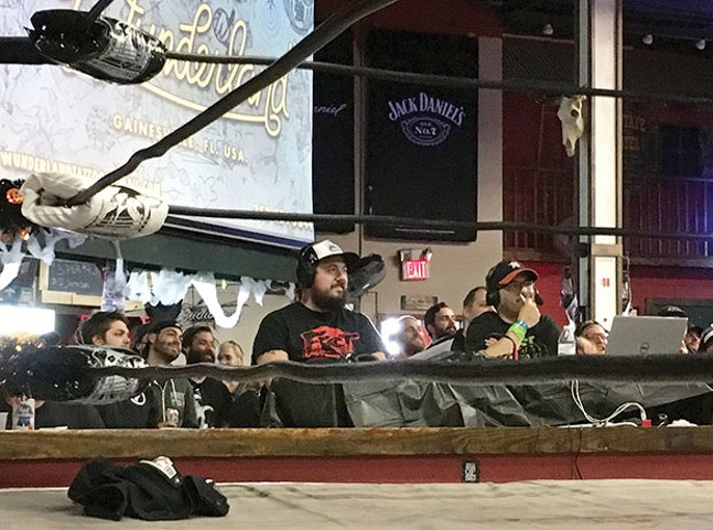 FEST Wrestling commentator Max Greg, of Pittsburgh, calls the action from ringside. - CP PHOTO BY MEG FAIR