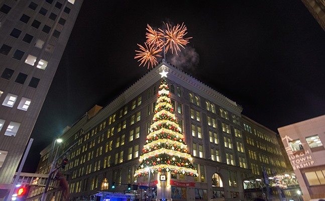 Fireworks above the Horne's Christmas tree during Pittsburgh's annual Light Up Night on Fri., Nov. 17, 2017 - CP PHOTOS BY JAKE MYSLIWCZYK
