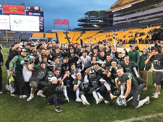 The Pine-Richland Rams celebrate their WPIAL championship on Sat. Nov. 18. - PHOTO COURTESY OF TRENT SCHELLER