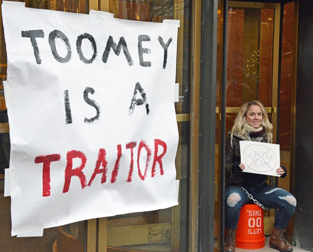 Chelsey Engel outside of Pat Toomey's office in Downtown Pittsburgh - PHOTO COURTESY OF IKE GITTLEN