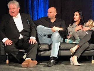 From left: Rick Sebak, John Fetterman and Gisele Fetterman (with kid) - CP PHOTO BY BILL O'DRISCOLL