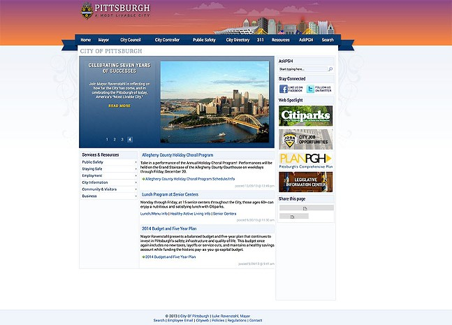City of Pittsburgh website circa 2013 - IMAGE COURTESY OF INTERNET ARCHIVE: WAYBACK MACHINE
