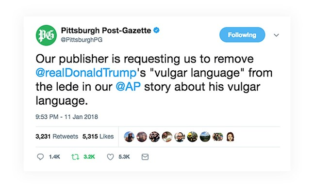 Tweet from the Pittsburgh Post Gazette