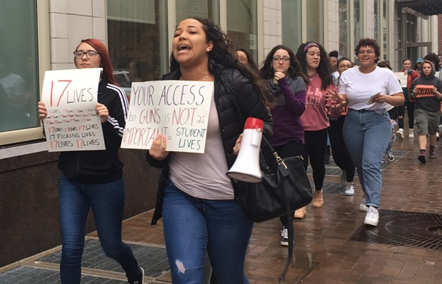 CAPA students march through Downtown Pittsburgh - CP PHOTO BY SABRINA BODON