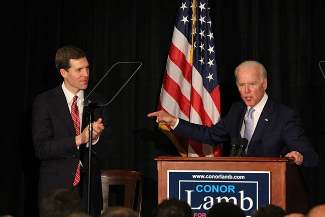 Conor Lamb (left) with Joe Biden at March 6 event at Robert Morris University - PHOTO COURTESY OF SEBASTIAN FOLTZ