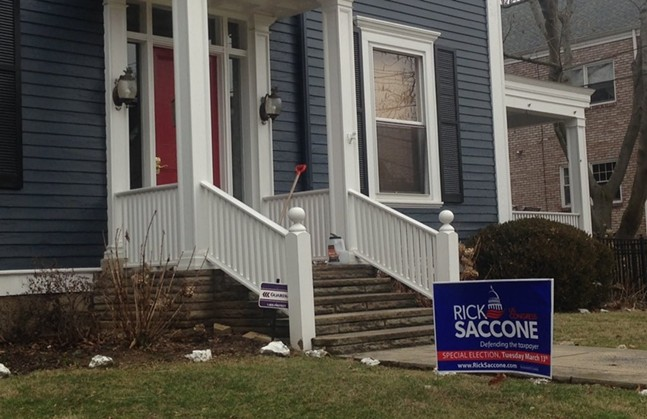 A sign for Rick Saccone at a home in Sewickely, which is outside of PA-18 - CP PHOTO BY RYAN DETO