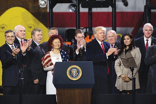 Pennsylvania U.S. Senate candidate Lou Barletta (left) with other state and national Republicans at a Donald Trump event in North Fayette in January - CP PHOTO BY JUSTIN MERRIMAN