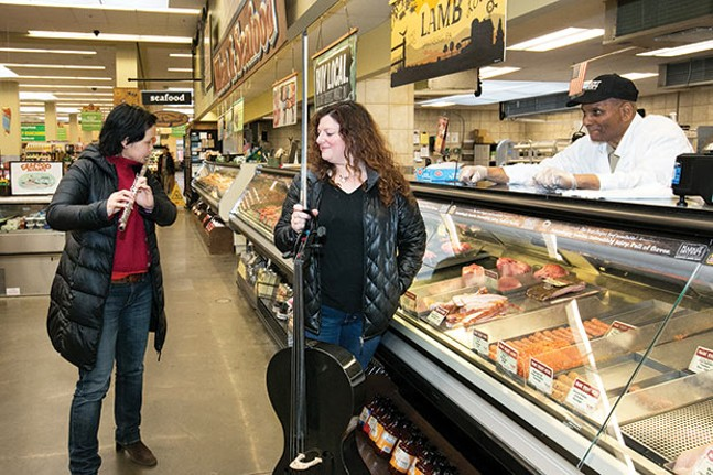 Peggy Yoo and Elisa Kohanski, of IonSound Project, in East Liberty's Giant Eagle on Sun., March 18 - CP PHOTO BY JOHN COLOMBO