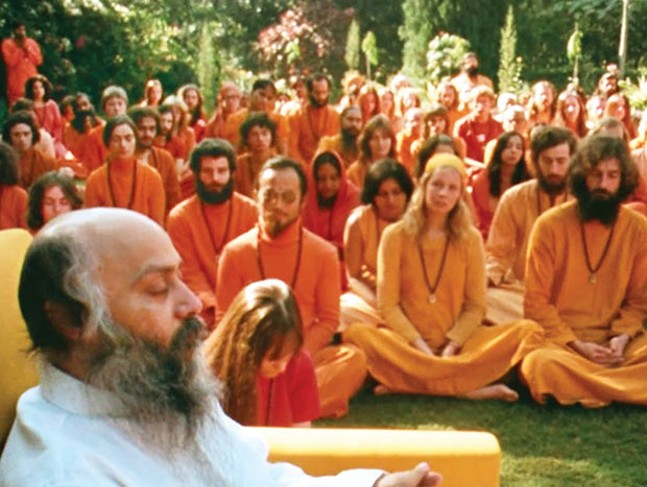 Bhagwan Shree Rajneesh, with followers - PHOTO COURTESY OF NETFLIX