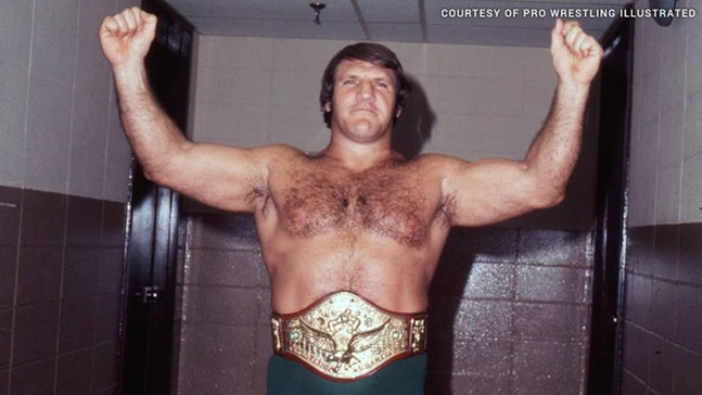 "Bruno Sammartino, ""the Italian Superman,"" with his championship belt - PHOTO COURTESY OF PRO WRESTLING ILLUSTRATED"
