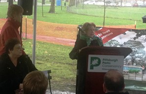 Patricia Rooney (right) speaking at the Allegheny Commons fountain groundbreaking - CP PHOTO BY RYAN DETO