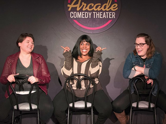 Averell, Christina McNeese and Suzanne Lawrence ham it up at Arcade Comedy Theater. - CP PHOTO BY SARAH WILSON