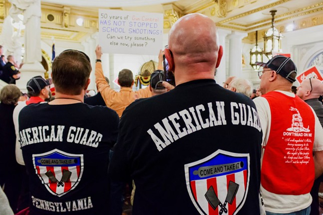 American Guard Members attending Daryl Metcalfe's pro-gun rally on April 30 - PHOTO COURTESY OF SEAN KITCHEN