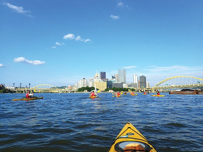 Kayakers enjoying the three rivers near Downtown Pittsburgh - PHOTO COURTESY OF VENTURE OUTDOORS