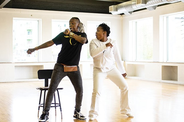 "Blak Rapp Madusa and Candace Michelle Perdue, ""the ghost of hip hop,"" rehearse at Alloy Studios. - CP PHOTO BY ANNIE BREWER"