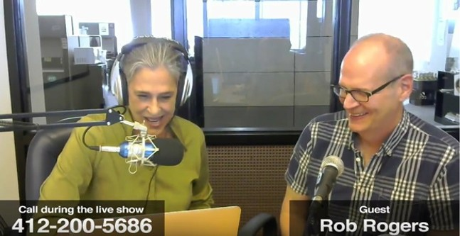 Rob Rogers (right) speaking with Lynn Cullen on June 7