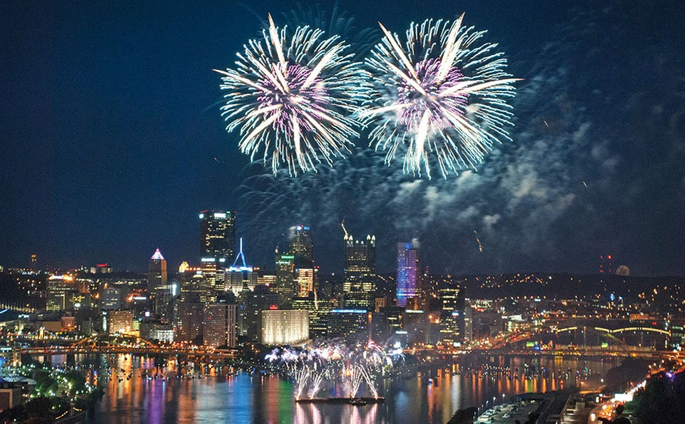 Fireworks over Downtown Pittsburgh - CP PHOTO BY JAKE MYSLIWCZYK