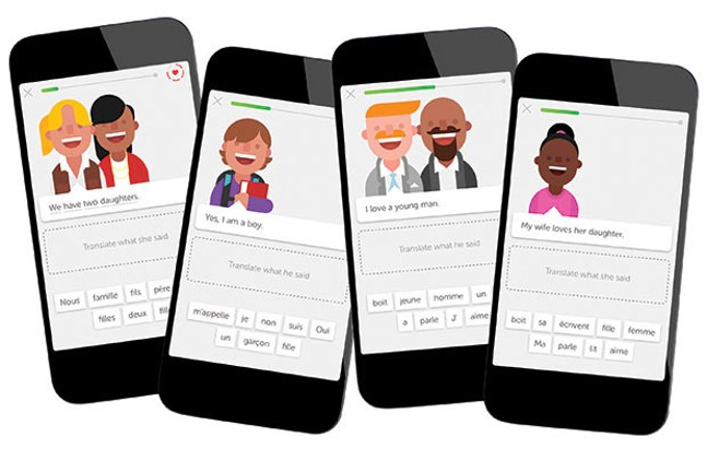 Screencaps from language app Duolingo