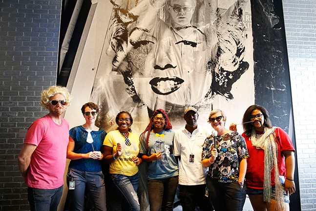 Staff and intern artist educators at The Andy Warhol Museum celebrate Warhol's 90th birthday. - CP PHOTO BY JARED WICKERHAM