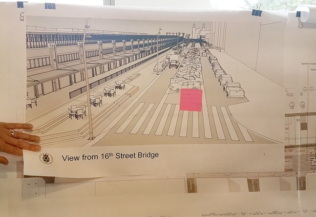 Redesign proposal of Smallman Street showing the median occupied by parked cars - PHOTO COURTESY OF ERIC BOERER