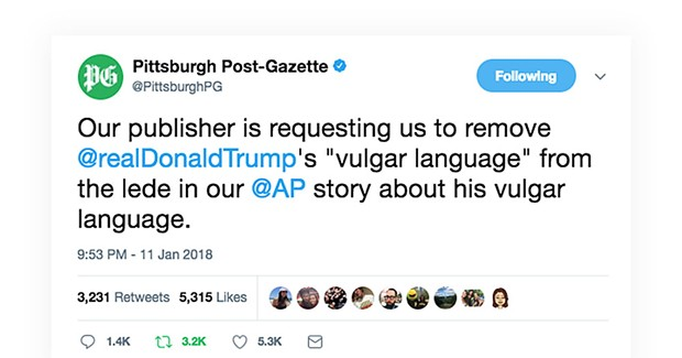 Pittsburgh Post-Gazette moves Trump's 'shithole countries' quote at behest of conservative publisher John Block