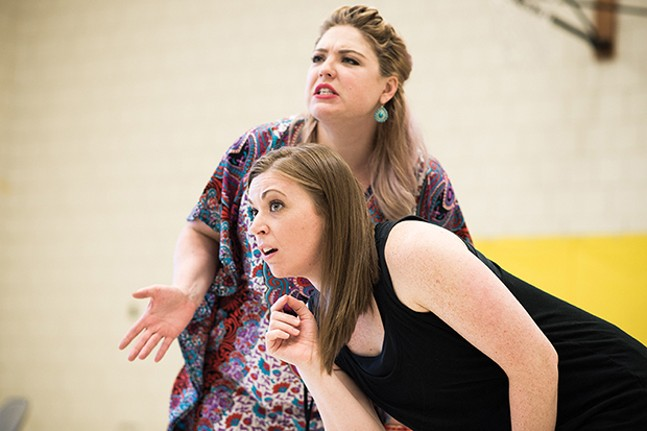 Val Williams and Rebekah Hukill rehearse a scene for Throughline Theatre Company's TheInspector General