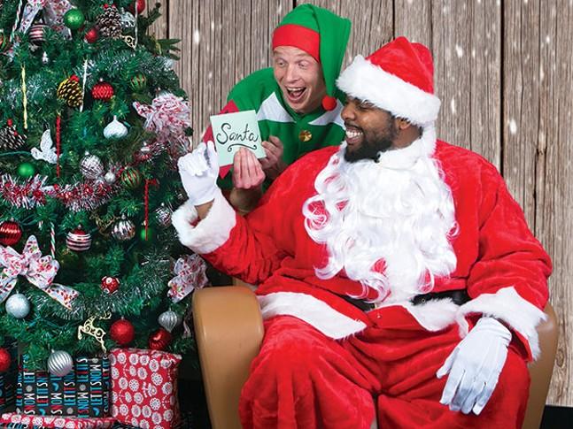 Pittsburgh Santa (Terry Jones) and his large-ish elf (Mike Wyosocki)
