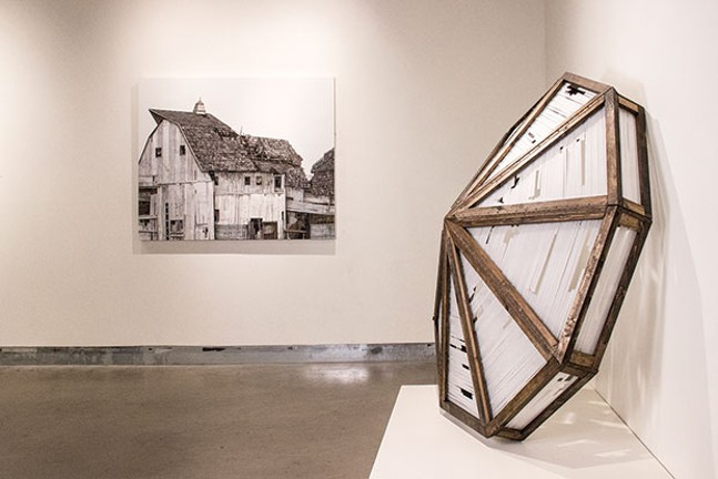"""At left, Seth Clark's """"Barn III""""; at right, Clark and Jason Forck's """"Glass Rooftop"""""""