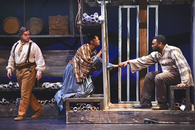 From left: Tom Driscoll, Delana Flowers and Monteze Freeland in Hiawatha Project's JH: Mechanics of a Legend
