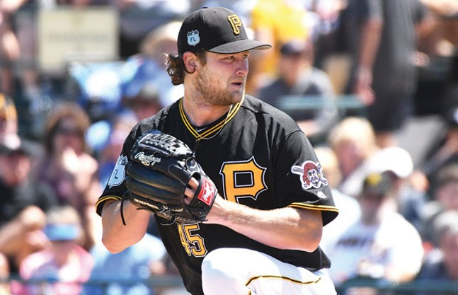 Gerrit Cole during a Pirates preseason game in Bradenton, Fla.