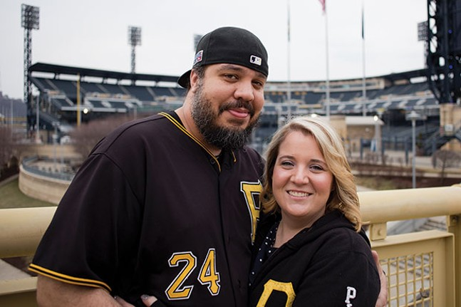 Demitrius Thorn and his fiancee, Dana Gilbert outside PNC Park