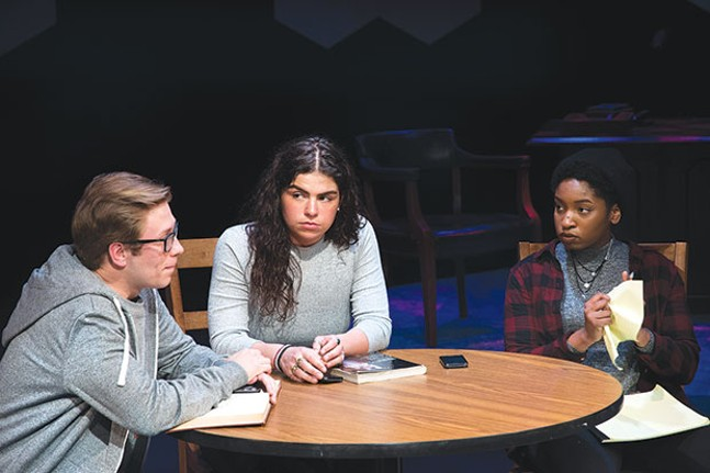 From left: Charles Kronk, Sophia Rodriguez and Maya Boyd in Baltimore, at Pitt Stages.