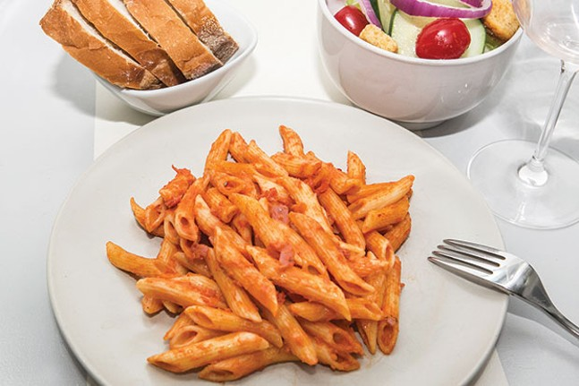 Take-out penne a la vodka with bread and salad (Editor's note: City Paper does not normally photograph take-out food from a reviewed restaurant. However, calls to schedule a photo with the business were not returned.)