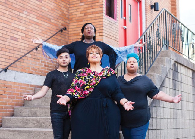 Charlee Canty (back row) and, left to right, Rudy Giron, Demareus Cooper and Michelle Williams play Spirits in Pittsburgh Festival Opera's A Gathering of Sons.