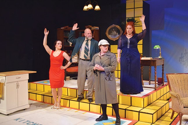 Left to right: Katheryn Hess, Tom Strauman, Jill Jeffrey and Tonilyn Longo Jackson in Clue: The Musical, at the Summer Company