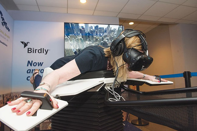 Flight simulation: Birdly in use
